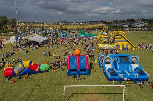 Bubbling With Energy provides mobile inflatable fun at former motor racing circuit at Oran Park
