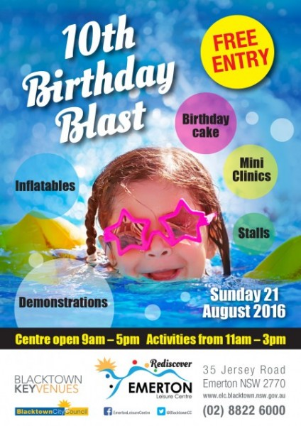 Emerton Leisure Centre to mark 10th birthday