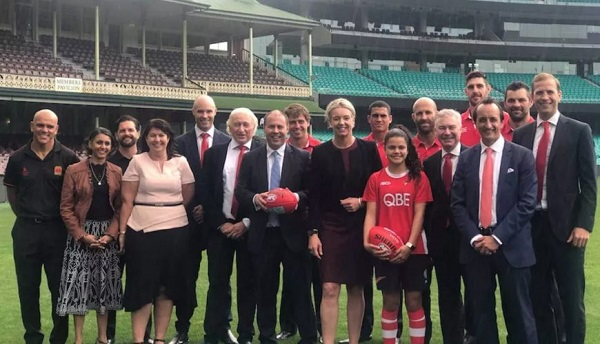 Liberal leaders repeat $15 million budget commitment to Sydney Swans AFLW facilities