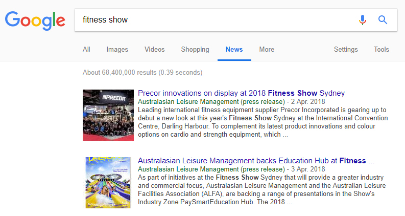 Google acknowledges Australasian Leisure Management as a global news source