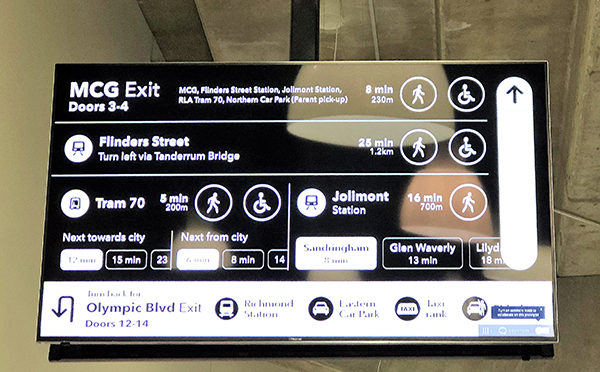 New information screens help guide fans home from Melbourne Park events