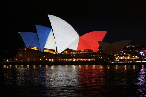 Venues across the world shine blue, white and red to show solidarity with France