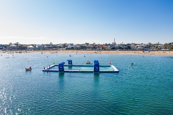 Life Saving Victoria launches inflatable pool off Williamstown