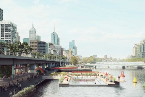 Concept revealed for floating swimming pool on Melbourne's Yarra River