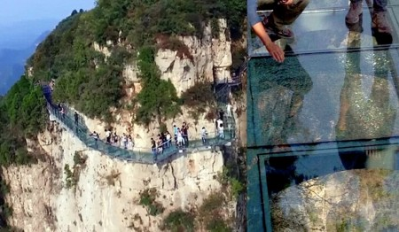 Guests scream as glass floor shatters on Chinese cliffside walkway