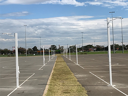 New height-adjustable netball posts installed at Heffron Park in Sydney's Eastern Suburbs